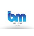blue gradient bm b m alphabet letter logo vector image