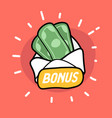 bonus money in envelope doodle icon vector image vector image