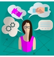 Business woman thinking infographics vector image vector image