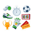 cartoon symbols of soccer sport vector image vector image