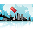 City scape with sky and clouds at the background vector image vector image