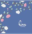 delicate flowers on a blue white background vector image vector image