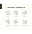 Design studio website icons set on white vector image