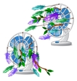 Desktop fan with colorful feather isolated vector image