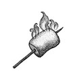 dotwork marshmallow with fire vector image vector image