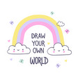 draw your own world hand draw for kids print vector image