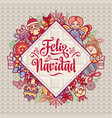 feliz navidad xmas card on spanish language vector image vector image