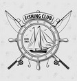 fishing sport club logo with sailing ship vector image vector image
