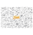 Food doodle set with lettering vector image vector image