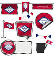 Glossy icons with Arkansan flag vector image vector image
