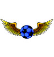 grunge image with winged soccer ball vector image vector image
