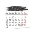 Handdrawn calendar August 2015 vector image vector image