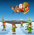 happy kids wearing elf costume in the snowing hill vector image vector image