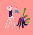 happy man stand on ladder holding mistletoe branch vector image