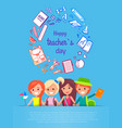 happy teacher s day vector image vector image