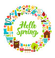 hello spring flat circle vector image vector image