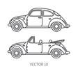 line icon set retro tourism auto classic vector image