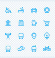 Line icons set for map pictograms signs for city