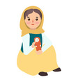 muslim migrant girl icon flat style vector image