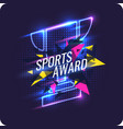 neon champions cup sports trophy a prize to the vector image vector image