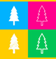 new year tree sign four styles of icon on four vector image vector image