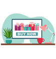 online shopping gifts computer screen vector image vector image