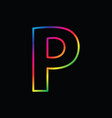 p letter rainbow alphabet logo abstract colorful