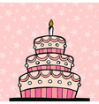 Pink birthday cake vector image