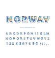 scandinavian font modern 3d alphabet cut vector image vector image