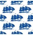 seamless pattern a fully rigged sailing ship vector image vector image