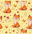 seamless pattern with a fox on a background vector image