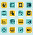 set of 16 marketing icons includes keyword vector image vector image