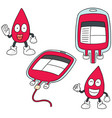 set of blood bag vector image