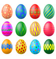 set of painted easter eggs with patterns vector image vector image