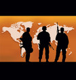 three soldiers and a map of the world vector image
