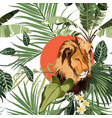 tropical tree palm tree plant lion animal flora vector image vector image