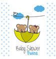 Twins baby shower bears vector image vector image