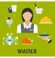 Waitress with restaurant utensil and food vector image