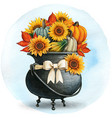 watercolor country cauldron with sunflowers vector image vector image