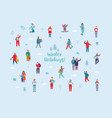winter holidays characters happy people vector image vector image