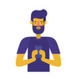 young man with beard and smartphone vector image vector image