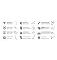 zodiac signs astrology and horoscope symbols vector image