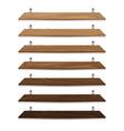 Blank wooden bookshelf isolated on white vector image