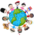 earth multicultural children vector image