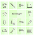 14 instrument icons vector image vector image