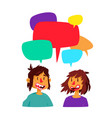 a communicating guy and a girl cute characters vector image vector image