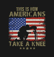 americans kneel for veteran vector image vector image