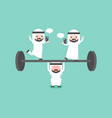 arab businessman try to weigh lifting barbell vector image vector image
