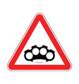 attention brass knuckle caution weapon robber red vector image vector image