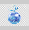 beautiful realistic new year 3d glassy blue ball vector image